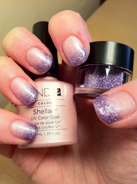 CND Shellac Nail Art - Strawberry Smoothie and Gosh Topaz Lavender Nail Glitter fade.