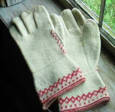 Swedish twined knitted mittens from Ore