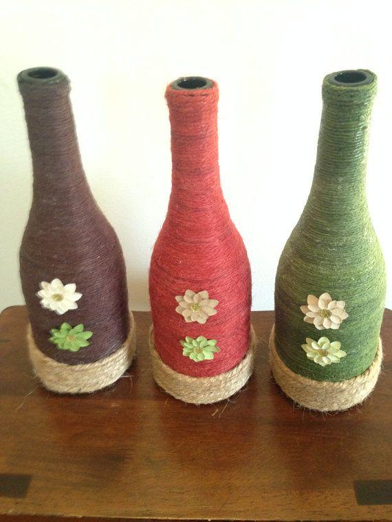 Twine Wrapped Wine Bottles                                                                                                                                                                                 Más