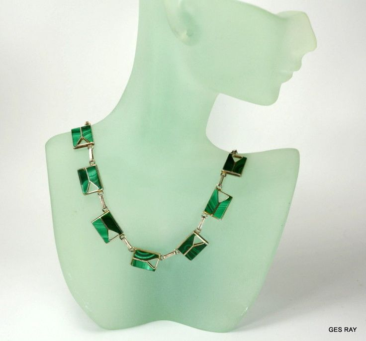 #Plata #Plata980 #PlataSterlingJewelry  Modernist #MexicanSterling #MexicanJewelry TAXCO 980 Silver #Malachite Necklace  #Taxco #Choker