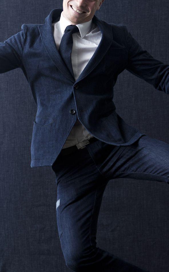 Design Forum Finland CEO Mikko Kalhama wear #FRENN #denim #suit and #tie