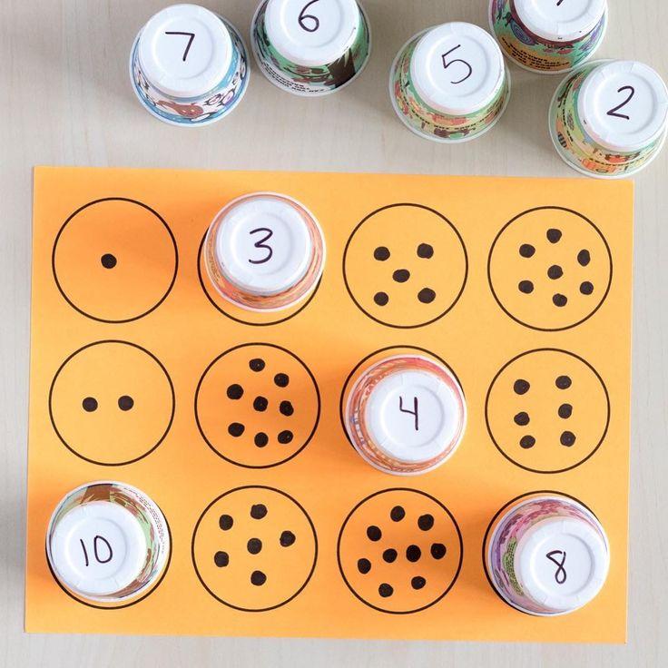 Number Sense / Identification / Counting Activity (from Mom Inspired Life via Instagram: https://www.instagram.com/p/BV3Jj7iFFRx/?taken-by=mominspiredlife)