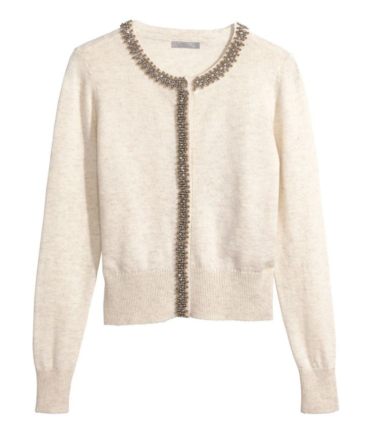 Light beige fine-knit cardigan with soft wool content, beaded embroidery, and rhinestones. | H&M Modern Classics