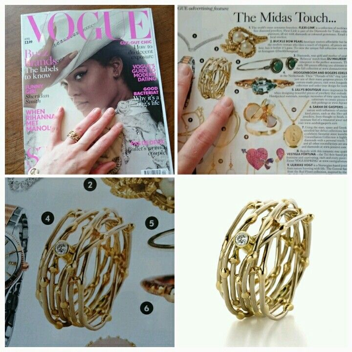 """Our Fairtrade gold """"Threads of life""""  ring in the April issue of British Vogue! Made by Hoogenboom & Bogers Edelsmeden. Www.hoogenboombogers.com"""
