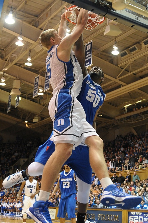 My boyfriend, Mason Plumlee finishes with contact at the rim against Georgia State during the 2012-2013 season opener. Go Duke!