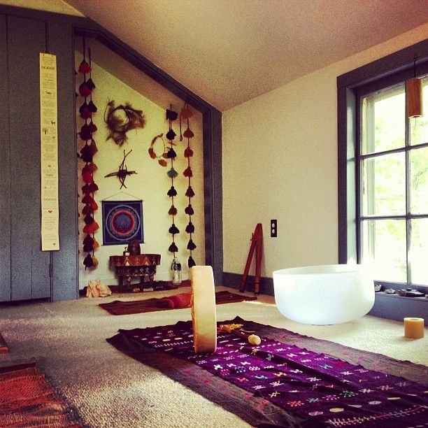 121 best images about home yoga studio ideas on pinterest for Spiritual bedroom designs