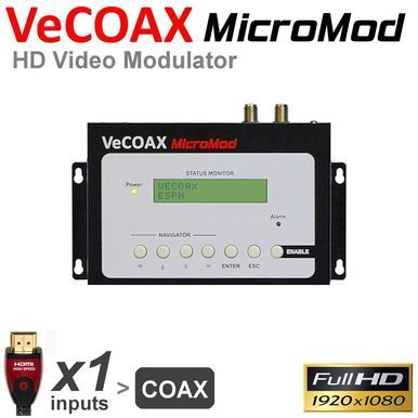 Compact single channel HDMI Full HD Modulator up to 1080i/p to distribute your HD Video Signals to unlimited HD Television through the existing Coaxial Cable