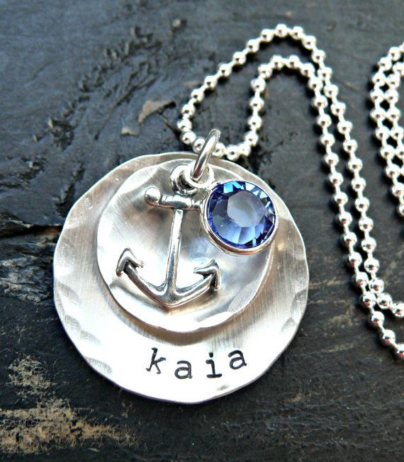 Hand Stamped Layered Anchor Necklace - Anchor Necklace - Personalized Anchor Necklace - Hand Stamped Anchor Necklace