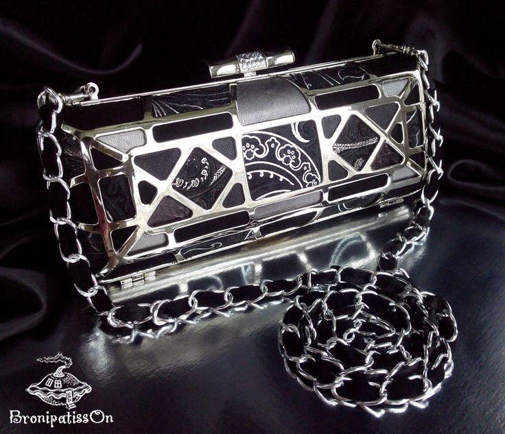Купить Клатч бокс на металлическом каркасе Black ornaments - черный, орнамент, клатч
