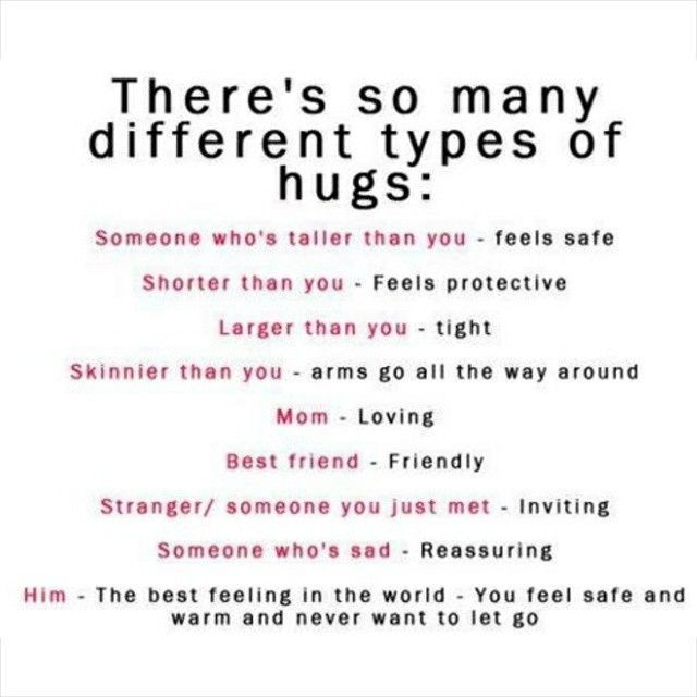 different kinds of hugs and what they mean