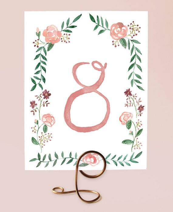 Printable Table Numbers Watercolor Flower Border By
