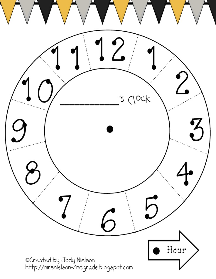 Paper Plate Clock Template.pdf 1st Grade Math