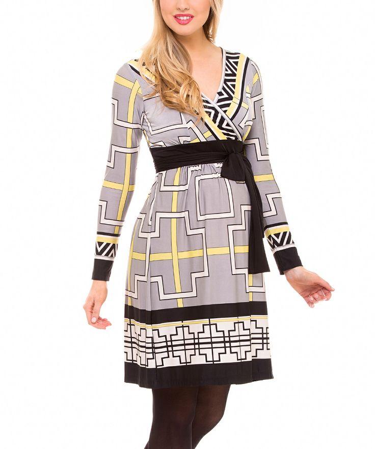 Gray & Yellow Geo Tie-cintura de maternidad vestido de sobrepelliz