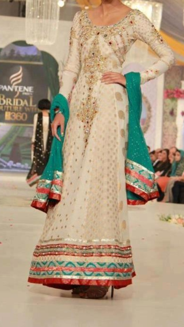 Pakistani wedding dress. sorry i dont know the designer.....