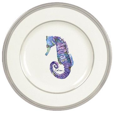 Seahorse Ceramic Dinner Plate Round Platinum Rim tropical-dinner-plates