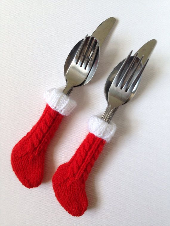Cutlery Christmas Stocking Knitting Pattern : Cable-knit mini stocking cutlery holderx6