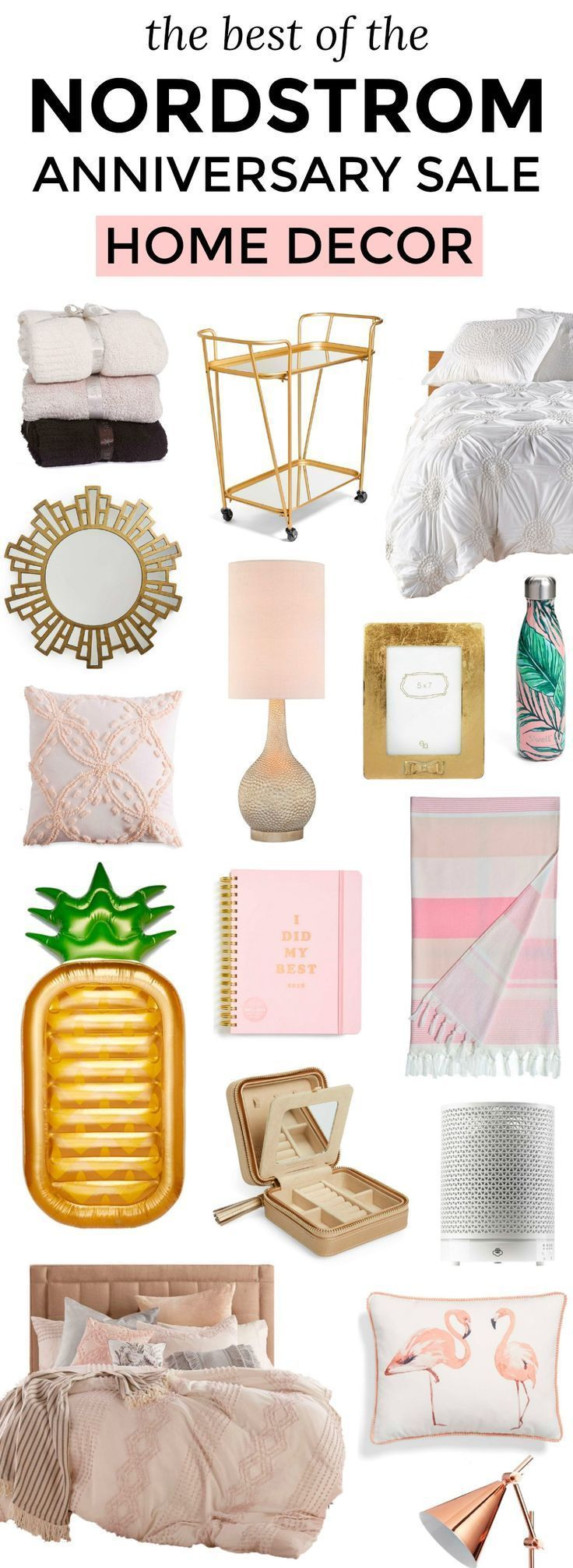 Affordable home decor finds that you will LOVE. P.S. All of these feminine home decor items are currently on sale in the Nordstrom Anniversary Sale for crazy low prices. To see the best home decor deals from the Nordstrom Anniversary Sale, click through this pin from Orlando, Florida lifestyle blogger Ashley Brooke Nicholas! | cute home decor, home decor ideas, pink gold and white home decor, cute bedding, gold bar cart, pink and green palm trees, flamingos, gold mirrors