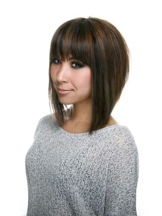 A line bob haircut with bangs!  Love the cut!