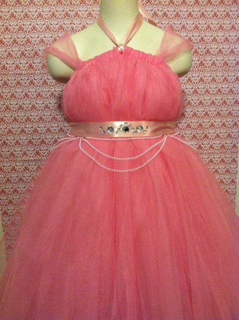 Sleeping Beauty Princess Aurora Inspired Tutu Dress with Jeweled Double-Faced Satin Sash. $75.00, via Etsy.