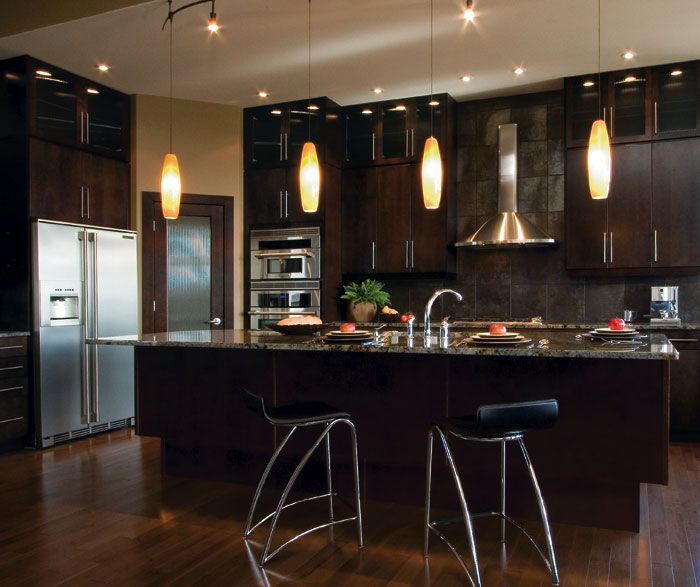 Furniture Beautiful Concepts Of Kitchen Craft Cabinet With Two Unique Chairs One Large Dark Brown Desk Wood Floor Laminating Four Low Light Lamps  Some ... Part 80