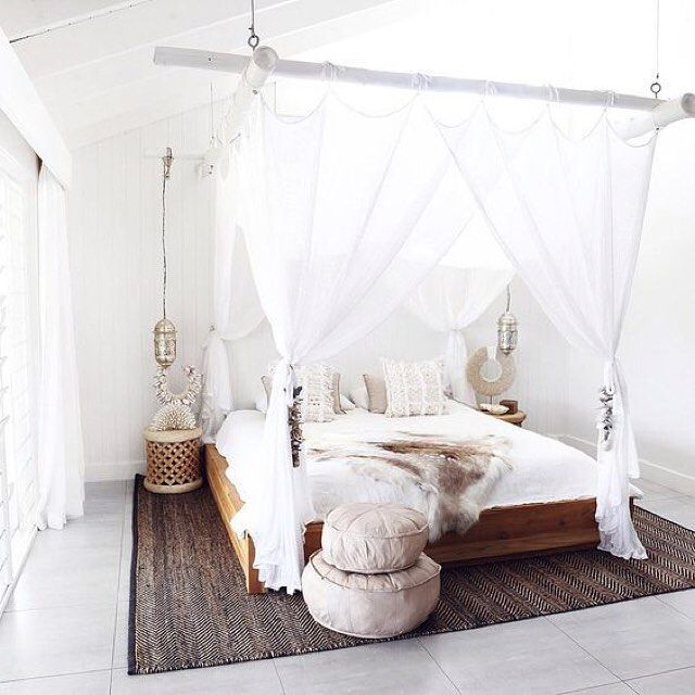 The love the holiday/Bali vibe we get from an all white layered bedroom like this - team white floaty fabrics with natural wood tones for warmth to be transported to more tropical climes into your bedroom. #bedroomgoals #Frenchbedroomcompany. #frenchbedroomcompany #fbco10 #shabbychic #vintage #thatsdarling #interiordesign #pursuepretty #thatsdarling #makeyousmilestyle #homedecor #everydaymagic #interior4all #interior_and_living #interiorandhome #myhouseidea #homestyling #interieur…