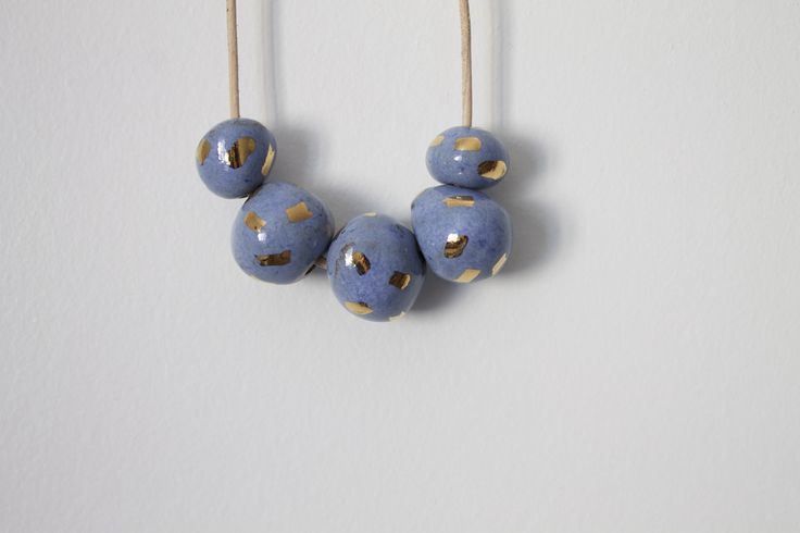 Light Blue and Gold Dash Necklace