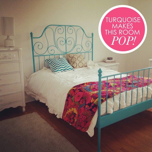Turquoise painted leirvik bed frame from ikea mi casa for Turquoise bed frame