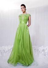Свежая мята шифоновое платья 2015 жемчужина короткие рукава весна мода плиссированные аппликации длинные женщины формальные ночные сорочки Cu(China (Mainland))