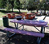 Custom Stay Put Fitted Tablecloth Table Cover for a Picnic RV or Camping Table 3 Piece Table and 2 bench set. Red & White Check Picnic Print. No more hot or dirty seats.