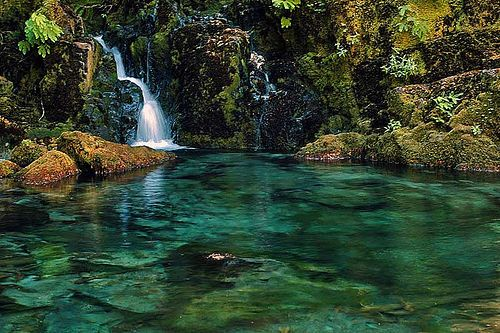 I've been here, it's lovely - Opal Creek Wilderness in the Willamette National Forest in Oregon  --  Opal Creek Valley contains 50 waterfalls, five lakes, and 36 miles of hiking trails with 500-1000 year old trees.