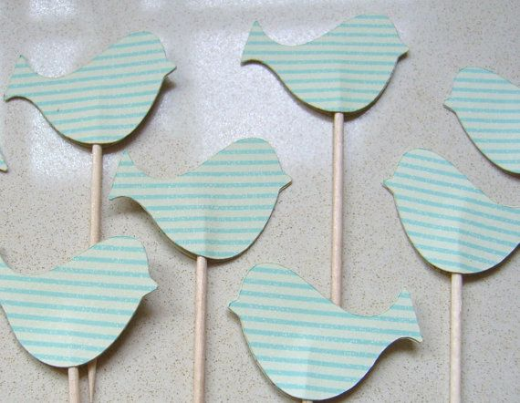Little Bird Cupcake Toppers/Party Picks Teal stripe. Birthday, nature, baby shower, kitchen tea, love birds, easter pastel, party decor. $7.00, via Etsy.