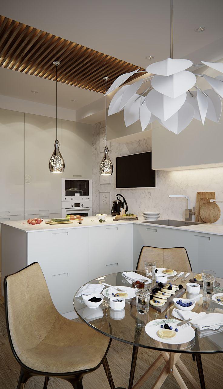 Interior design of a small kitchen space with a dining room using stone, wood and neutral facades.  Дизайн интерьера небольшого пространства кухни со столовой с использованием камня, дерева и нейтральных фасадов.
