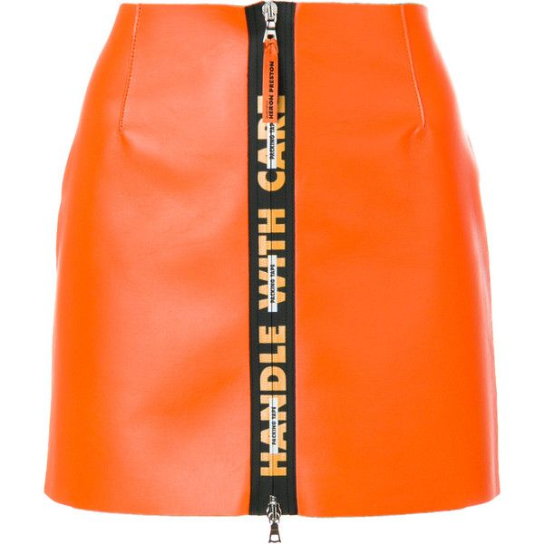 Heron Preston short A-line skirt ($734) ❤ liked on Polyvore featuring skirts, zip front skirt, leather mini skirts, genuine leather skirt, orange mini skirt and short mini skirts