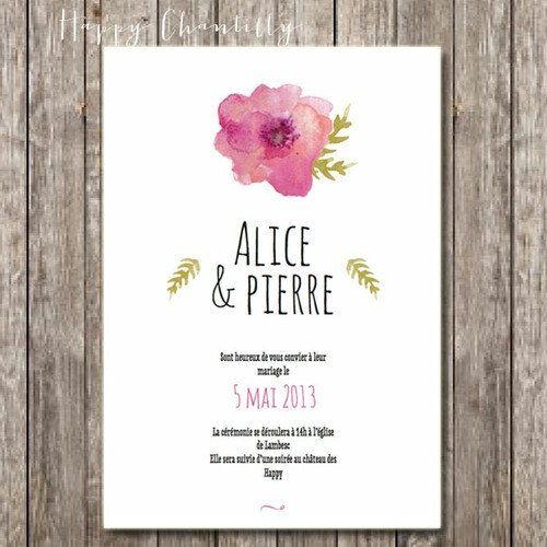 Hand Painted Flowers Wedding Invitation   Rustic And Romantic Watercolor Wedding  Invitation (printable Version