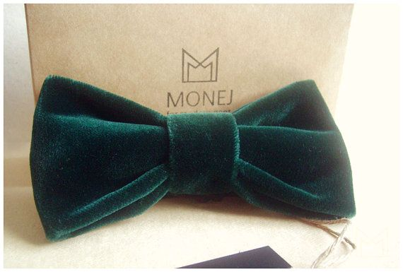Dark Green Velvet Bow Tie FREE SHIPPING  Limited by MonejBowTies