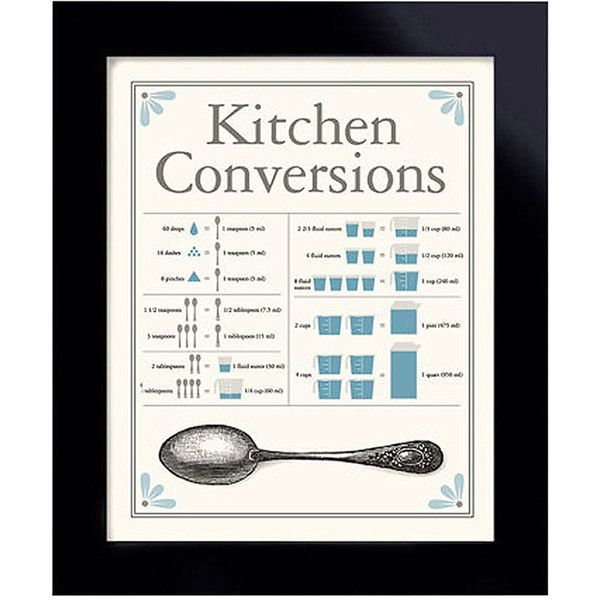DexMex Kitchen Conversion Chart Print ($18) ❤ liked on Polyvore featuring home, home decor, wall art, word wall art, distressed home decor, typography wall art, paper wall art and distressed wall art