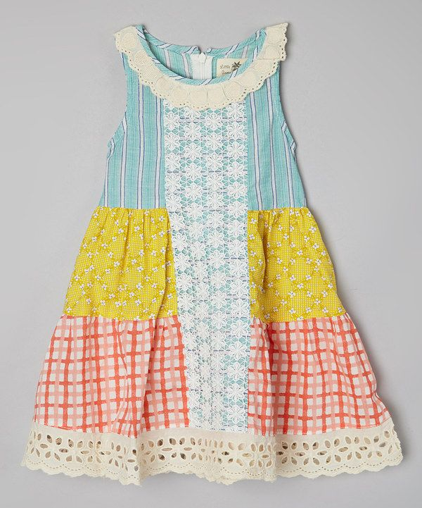 Look at this Little Anmy Yellow & Green Windowpane Tiered Dress - Toddler & Girls on #zulily today!