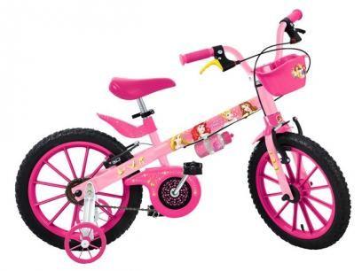 Bicicleta Infantil Bandeirante Disney Princesas - Aro 16 Freio V-brake com as melhores condições você encontra no Magazine Gatapreta. Confira!