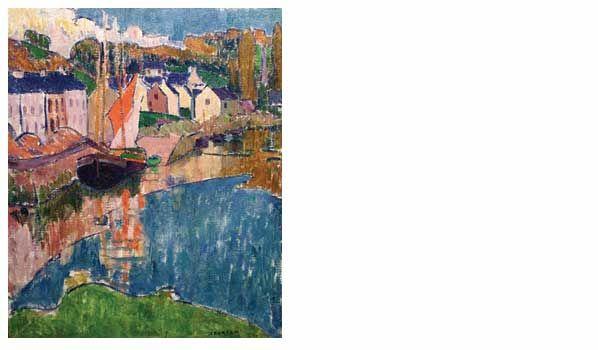 Emile Jourdan - Bateaux dans le port de Pont-Aven
