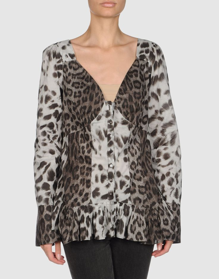 Slit cuffs Front closure Button closing Pleated detailing Darts Plain weave Leopard design Long sleeves.