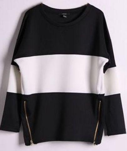 Black Contrast White Long Sleeve Side Zip Sweatshirt pictures