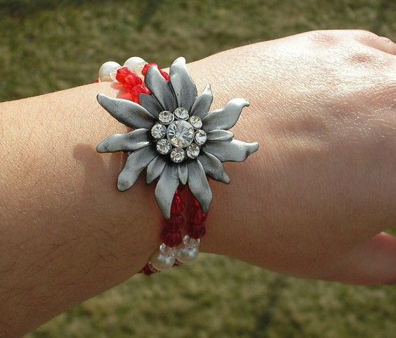 Cuff Bracelet Red and Clear Glass Beads with Pearl Beads and Silver Edelweiss Pendant
