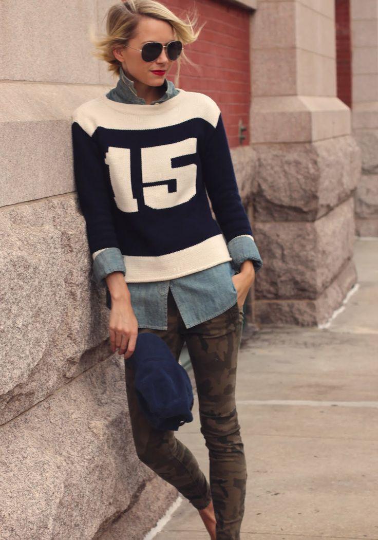 Varsity sweater chambray shirt camo pants atlantic pacific