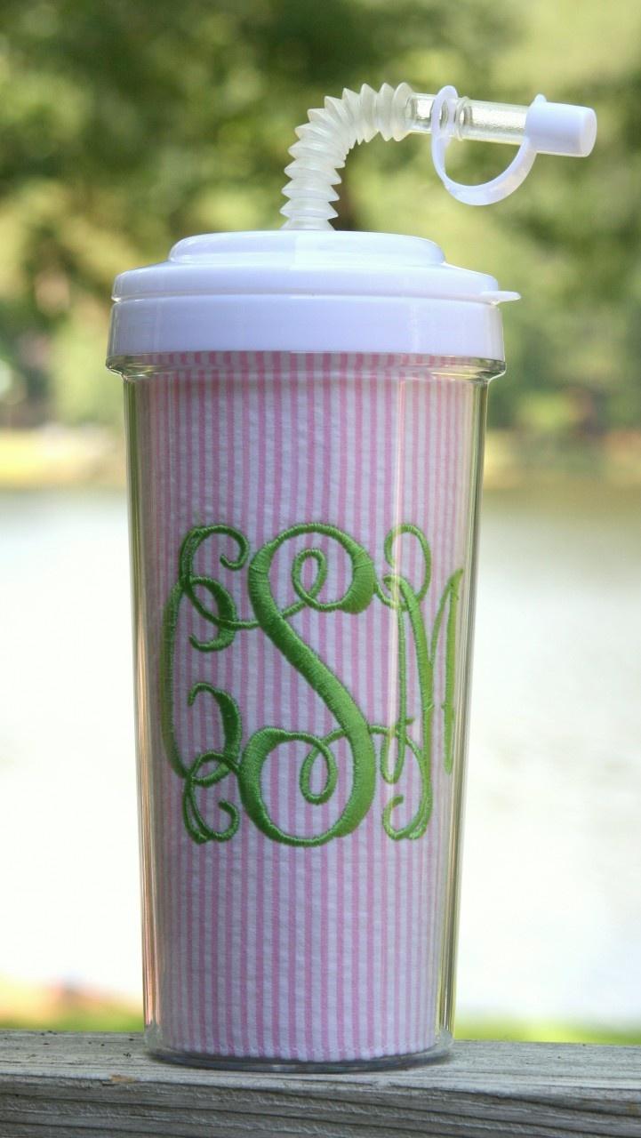 seersucker tall tumbler straw cup