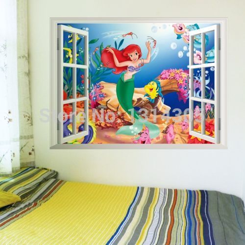 Lovely Mermaid Princess Ariel Wall Sticker Vinyl Art Decal Kids Room Decor FLGP2