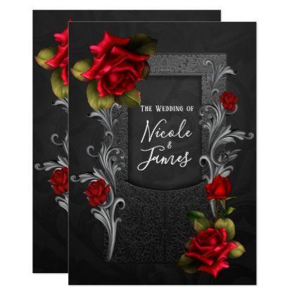 Red Roses Black Ornate Gothic Wedding Card - wedding invitations diy cyo special idea personalize card