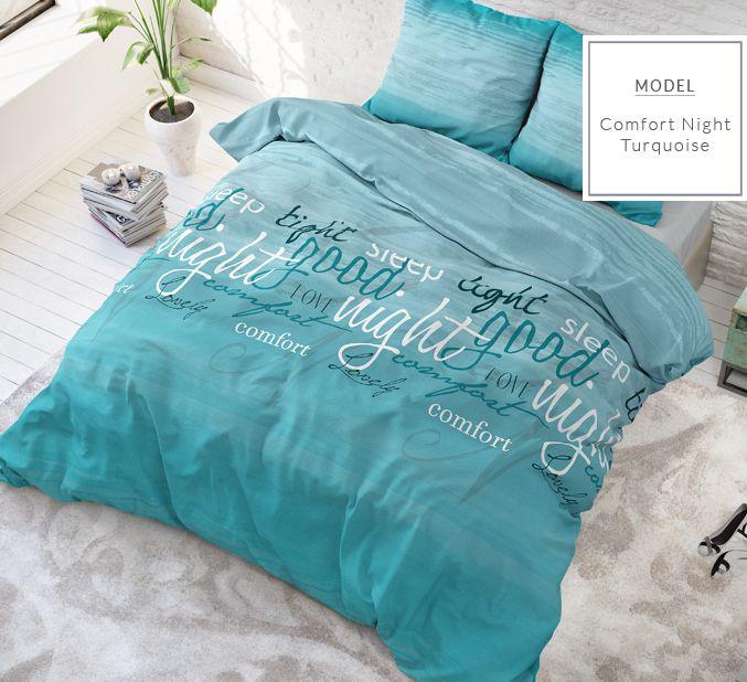Tyrkysové posteľné obliečky s potlačou