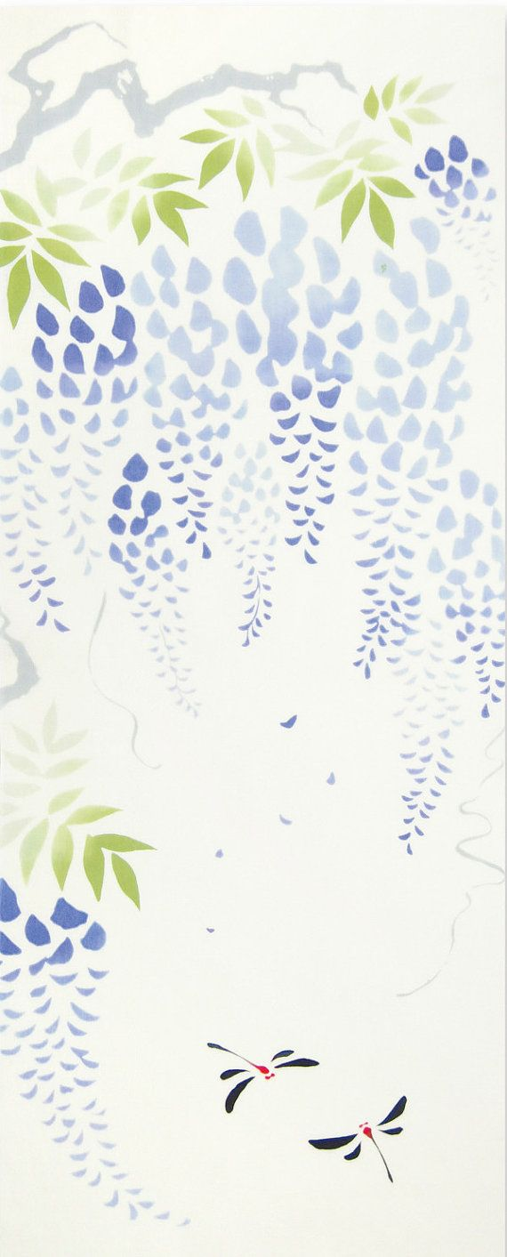 Japanese Tenugui cotton towel fabric. Beautiful wisteria & dragonfly design…   – print,motive