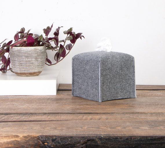 Cube tissue box cover various color lining felt Kleenex by POPEQ