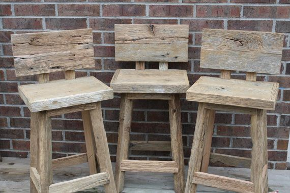 Staceys Custom Reclaimed Rustic and Recycled Oak Barn Wood Rectangle Top Bar Stool with Backs